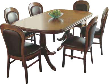 Classic Kauri Hindon Dining Chair with Classic Kauri Double Pedestal Extension Dining Table